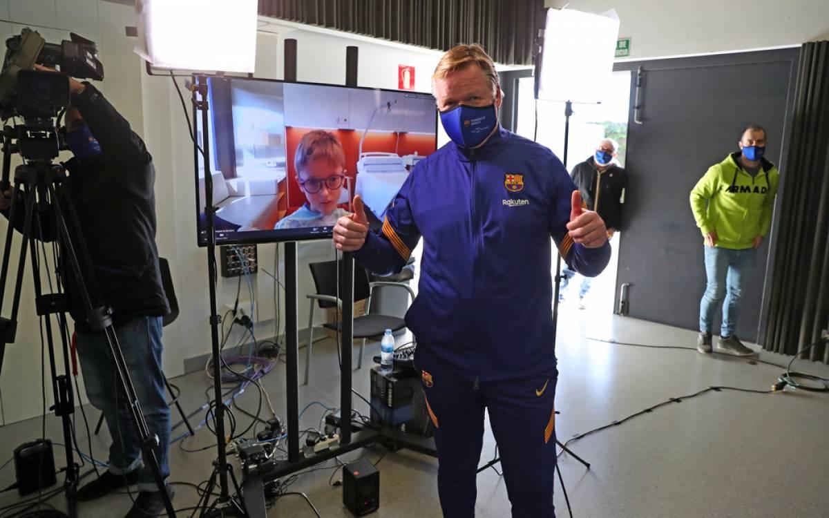 Visita virtual de los reyes blaugranas al Hospital de Barcelona